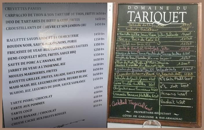 Tarifs - LE RICK'S - Snack, Restaurant - Piscine de Koutio - Dumbéa - Nouvelle-Calédonie