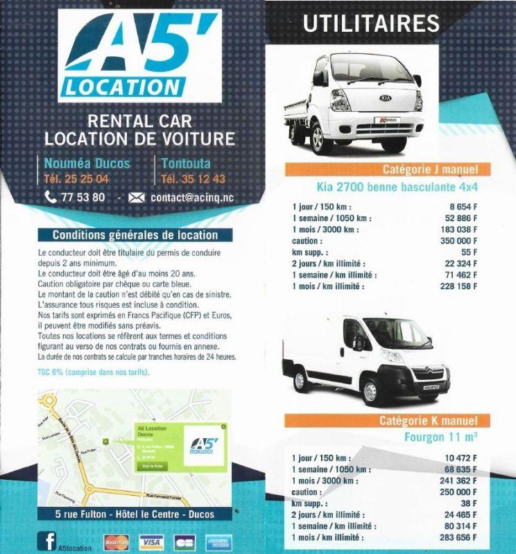 Tarifs - A5 - Location de voiture - Ducos - Nouméa - Nouvelle-Calédonie - Nouvelle-Calédonie