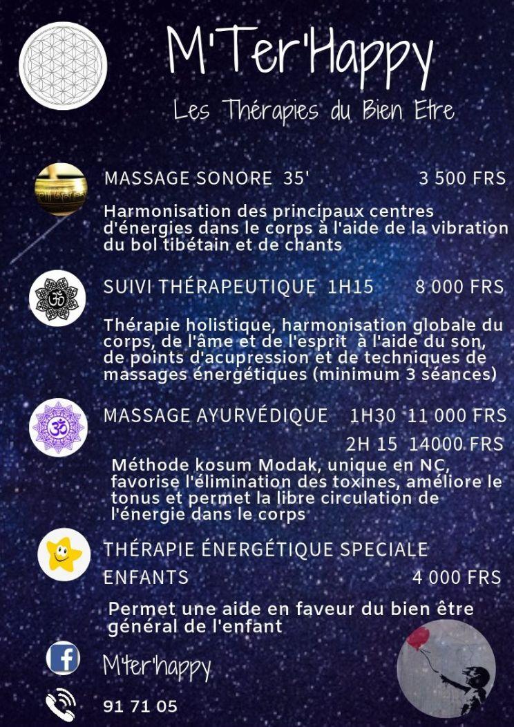 Tarifs - M'TER'HAPPY - Thérapies énergétiques & massages ayurvédiques - Nouvelle-Calédonie
