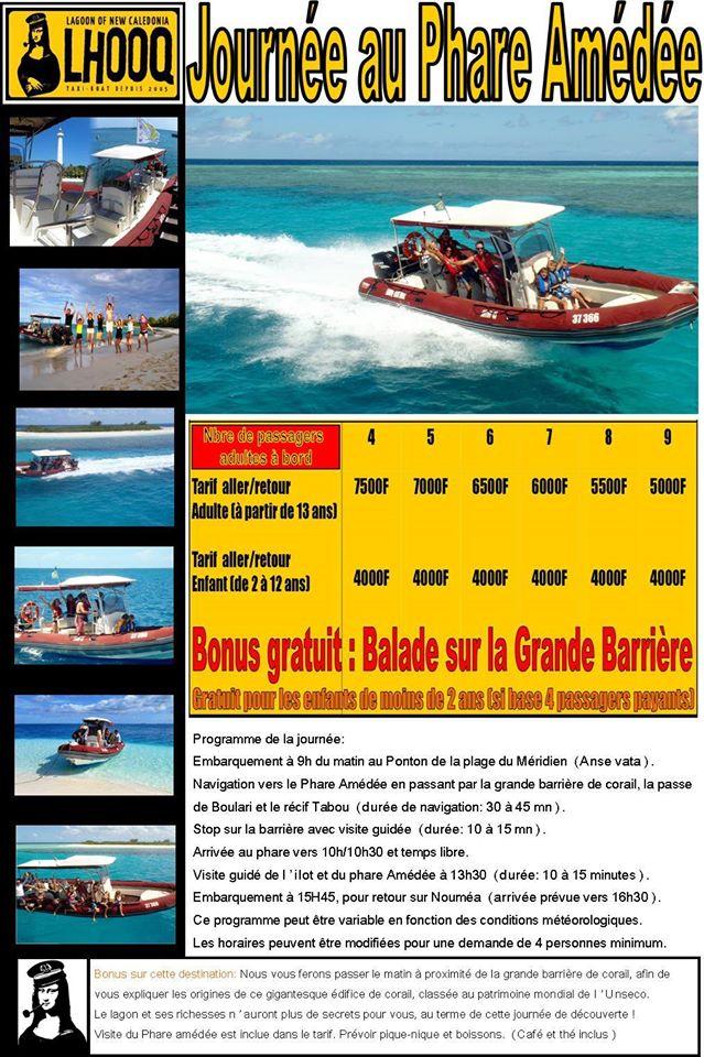 Tarifs - LHOOQ - Taxi boat, Visite au Phare Amédée - Nouméa - Nouvelle-Calédonie
