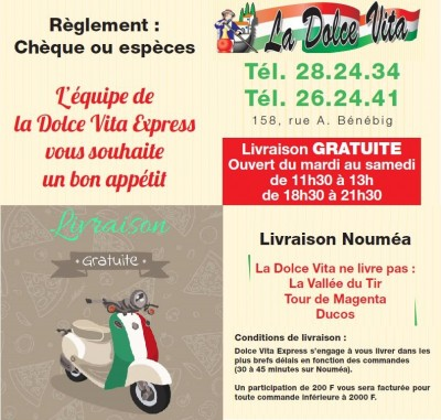 Facilités - Pizzeria LA DOLCE VITA -  Restaurant italien - Pizzas au feu de bois,livraison ou à emporter -  Nouméa - Nouvelle-Calédonie
