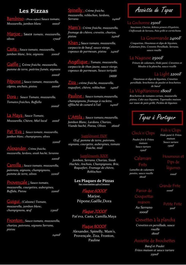 Tarifs - LE FRONTON ETCHEKHAN - Bar, Restaurant - Amicale basque - Nouméa - Nouvelle-Calédonie