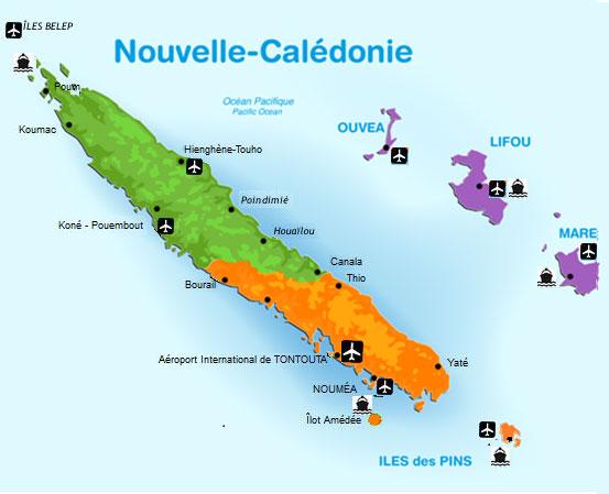 Carte de la Nouvelle Calédonie - LeGuide.nc